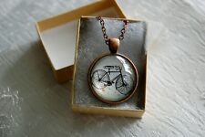 Bicycle Bronze Color Glass Cabochon Necklace chain Pendant Free Gift Box