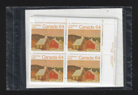 Canada — Set of 4 inscription Corner Blocks — Christmas Rural Church #1006 — MNH
