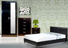 High Gloss Bedroom Furniture Set Wardrobe Chest Bedside + 3ft Faux Leather Bed