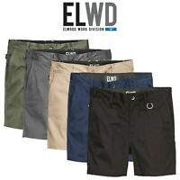 Mens Elwood Work Basic Shorts Stretch Twill Reinforced Pockets Tradie EWD202