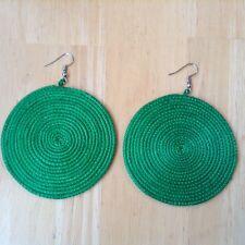 Lightweight Statement Earrings Aa54 African-Arena Handwoven Sisal Tribal Green