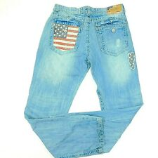 New listing Smoke Rise Distressed Jeans Americana Usa Flag Red White Blue Men's 36x34