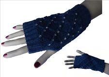 Mitaines Bleues Jean avec strass & motifs Gant Fingerless Gloves Très sexy