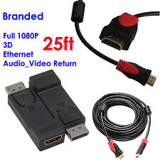 Display Port to HDMI Converter with Audio Adapter+Ultra 25FT HDMI w/Cores,1080P