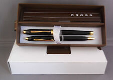 Cross Black and Gold Fountain Pen and ball pen set in box