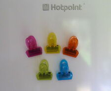 PACK OF 5 NEON MAGNETIC CLIPS FRIDGE MAGNETS FOR NOTES MEMOS ETC.
