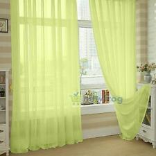 Solid Sheers Window Curtain Panel Treatment Drape Voile Scarf Valances 12 Colors