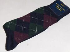 POLO RALPH LAUREN Men's Cashmere Argyle Socks, Navy, Wine, Green, Fits Most, NWT