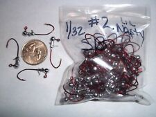 1/32oz #2 STAGGERED BARB LEAD HEAD JIG EAGLE CLAW LIL NASTY SICKLE - RED 100ct
