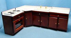Dollhouse Miniature 4 Pc Wood Stove Sink and Cabinets in Red Walnut WF062