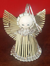 Vintage Wood Reed Straw Stick Holiday Christmas Bell Shaped Angel Ornament