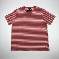 Polo Ralph Lauren Mens 2XLT Tall V-Neck Striped Short Sleeve T Shirt Red White