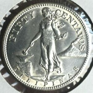 1944-S  PHILIPPINES SILVER 50 CENTAVOS HIGH GRADE COIN