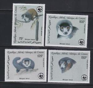 AK39  - ANIMAL KINGDOM STAMPS COMORES 1987 MONGOOSE LEMUR WWF MNH