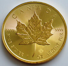 2017  Canadian Maple Leaf Full Gold Gilded 1 oz .999 Silver Coin