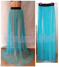 Summer Beach Club Party Mesh Full Length Long Maxi Skirt BLUE One size Fit S,M,L