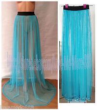 Summer Beach Club Party Full Length Long Maxi Dress Skirt BLUE One size XL/XXL