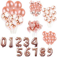 Rose Gold Foil Latex Balloon Set Helium Star Wedding Birthday Party Xmas Decor k