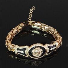Head Bangle Gifts Gold Jewelry Kw 1x Pop Alloy Vintage Rhinestone Bracelet Lion
