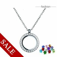 Chic Crystal Floating Charms Living Memory Glass Locket Pendant Necklace Chain
