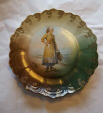 Vintage Z.S. & Co Bavaria Young Woman by the Sea Shore Scallop Edge
