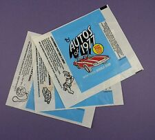 Autos of 1977 -  BubbleGum Card Wrappers - 3 Variations