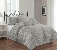 Chezmoi Collection Shabby Chic Ruched Ruffle Duvet Cover Set W/Throw Pillow Gray