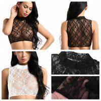 Women Lace Sheer Lingerie Crop Top Sleeveless See Through Cami Tank Tops Shirt