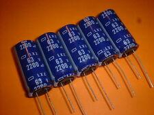 5x Elko 2200µF / 63V 105°C Nippon-Chemicon LXZ 18x40 mm 2200uF