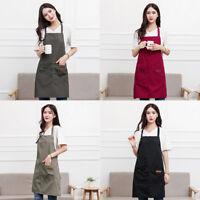 Canvas Pockets Apron Butcher Crafts Baking Chefs Kitchen Cooking BBQ Plain UK