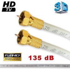 12M SAT CÂBLE HD Rallonge câble 135 DB plaqué or Fiche-F et F-Connecteur