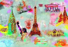 """Large wall mural wallpaper 366x254cm (12' x 8'4"""")  New York Paris Moscow"""