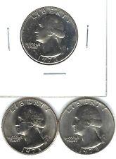 1973-P+D+S GEM UNCIRCULATED WASHINGTON QUARTERS + PROOF (3 COINS)!