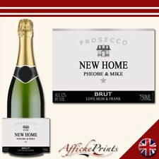 Personalised Prosecco Label Silver House Warming Bottle Custom Sticker Present