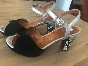 Chie Mihara Sandles black with snakeskin heels