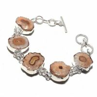 Solar Quartz Druzy Ethnic Jewelry Handmade Bracelet 29 Gms BB-284