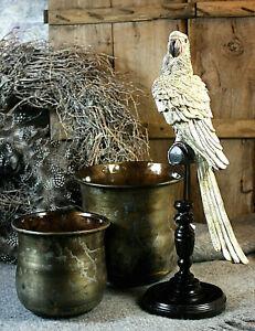Papagei auf Stange DEKO-Figur Garten shabby Landhaus Statue Vogel Höhe 43 cm