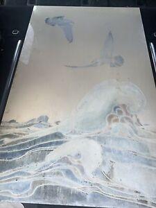 vintage 1940s vitrolite glsss panel seagulls waves 30x48
