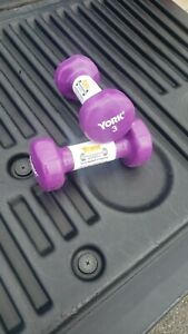 PAIR OF 3LB YORK DUMBBELS FITBELL RUBBER COATED HAND WEIGHTS TOTAL 6LBS