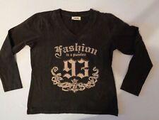 Top Secret Damen Shirt mit V Ausschnitt schwarz mit Aufdruck Gr. 44