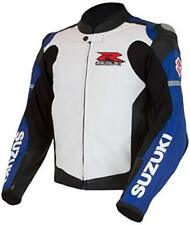 WHITE SUZUKI RGSX RACING MOTORBIKE  LEATHER JACKET CE APPROVED