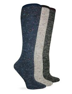 Wise Blend Womens Boot Wool Marl Knit Long Knee High Boot Socks 2 Pair Pack