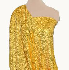 LYCRA SPANDEX YELLOW GOLD SEWN ON SEQUINS STRETCH BY THE YARD, DANCE, COSTUME