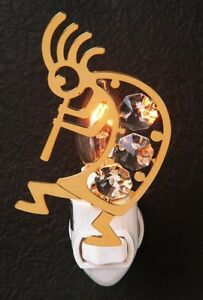 Kokopelli - NIGHT LIGHT 24KT GOLD PLATED WITH AUSTRIAN CRYSTALS
