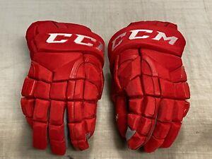 "CCM HG12 Pro Stock Hockey Gloves Red 14"" HURRICANES 7453"