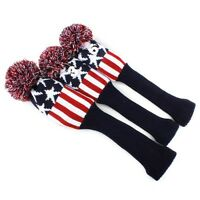 USA Ship Knit Sock Headcover For Golf  Driver Fairway Wood Cover Headcover 3pcs