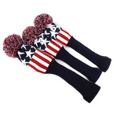 Pom Pom Blue Red Star Golf Club Sock Driver Fairway Wood Cover Headcover 3pcs