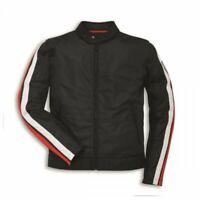 DUCATI BREEZE Retro Tex Jacke Sommer Textiljacke perforiert Jacket schwarz NEU !