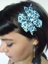 Pince clip cheveux noeud léopard bleu marron coiffure rétro pinup rockabilly
