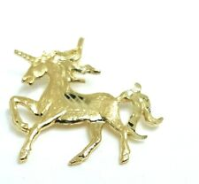 "14k real yellow gold unicorn full body pendant charm jewelry 0.61""×0.76"" 0.8g"